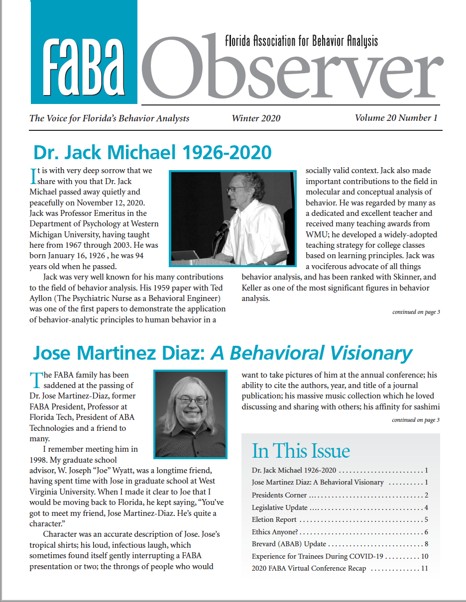 Thumbnail of the Winter 2020 edition of the FABA Observer